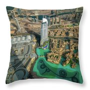 Dubai Downtown Aerial View By Sunset, Dubai, United Arab Emirates Throw Pillow