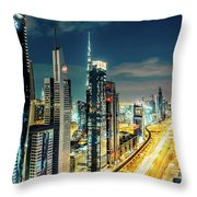 Dubai Downtown Architecture And A Highway.  Throw Pillow