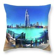 Dubai Burj Khalifa Panorama Throw Pillow