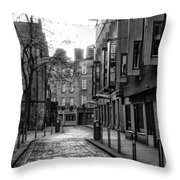 Dublin Ireland - Essex Street In Black And White Throw Pillow
