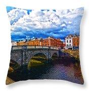 Dublin's Fairytales Around Grattan Bridge 2 Throw Pillow