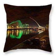 Dublin's Samuel Beckett Bridge At Night Throw Pillow