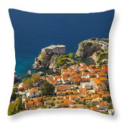 Dubrovnik Fortress From Above Throw Pillow