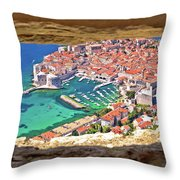 Dubrovnik Historic City And Harbor Aerial View Through Stone Win Throw Pillow