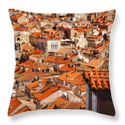 Dubrovnik Orange Old Town Rooftops Throw Pillow