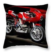 Ducati Mhe And Ferrari Throw Pillow