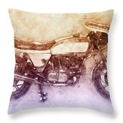 Ducati Supersport 2 - Sports Bike - 1975 - Motorcycle Poster - Automotive Art Throw Pillow