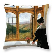 Duchess Of Abercorn Looking Out Of A Window Throw Pillow by Sir Edwin Landseer