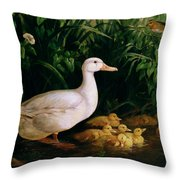 Duck And Ducklings Throw Pillow by English School