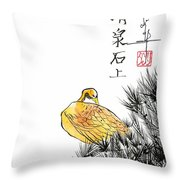 Duck And Pines Throw Pillow