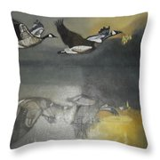 Duck Are Flying On The Sea Side Throw Pillow
