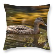 Duck Throw Pillow by Atul Daimari