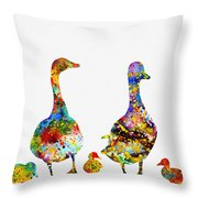 Duck Family-colorful Throw Pillow