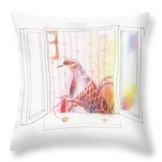 Duck In A Window Throw Pillow