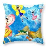 Duck Meets Fairy Ballet Class Throw Pillow