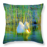 Duck On A Mission Throw Pillow