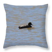 Duck On The Lake Throw Pillow