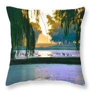 Duck Pond At Dawn Throw Pillow