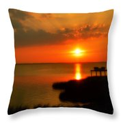 Duck Sunset Outer Banks North Carolina Throw Pillow