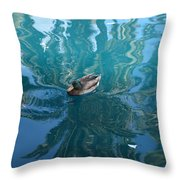 Duck Swimming In The Blue Lagoon Throw Pillow