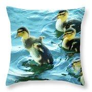 Ducklings Digital Water Color Throw Pillow
