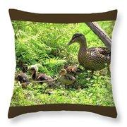 Ducklings Through The Ferns Throw Pillow