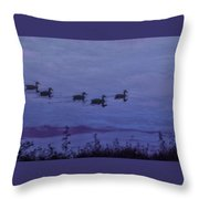 Ducks In A Row - Swimming In The Clouds Throw Pillow