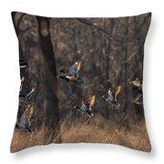 Ducks In Flight Throw Pillow