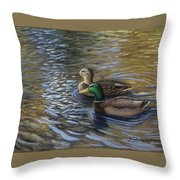 Ducks In The Pond Throw Pillow