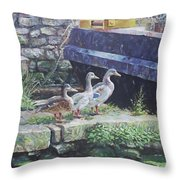 Ducks On Dockside Throw Pillow
