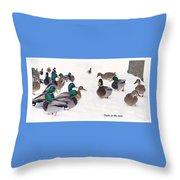Ducks On The Snow Throw Pillow
