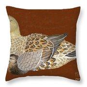 Ducks - Wood Carving Throw Pillow