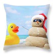 Ducky And Santa At The Beach Throw Pillow