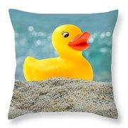 Ducky's Fun Day  At The Beach Throw Pillow