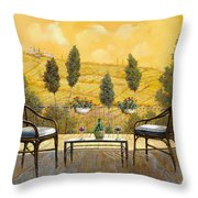 due bicchieri di Chianti Throw Pillow by Guido Borelli