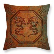 Dueling Dragons In An Octagon Frame With Chinese Dragon Characters Yellow Tint Distressed Throw Pillow