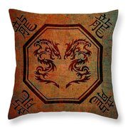 Dueling Dragons In An Octagon Frame With Chinese Dragon Characters Yellow Tint  Throw Pillow