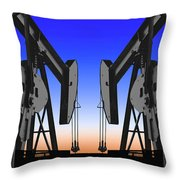 Dueling Oil Well Pumps Throw Pillow