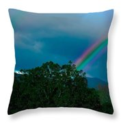 Dueling Rainbows Throw Pillow