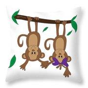 Duffworkscreative_monkeyfunlove_holdinghands Throw Pillow