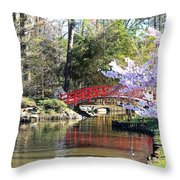 Duke Garden Spring Bridge Throw Pillow