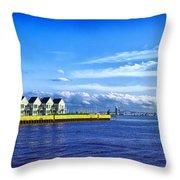Duluth Minnesota Harbor Throw Pillow