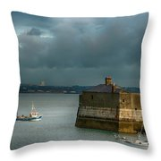 Dun Laoghaire Harbor Lighthouse Throw Pillow