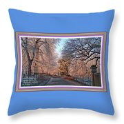 Dundalk Avenue In Winter. L A With Decorative Ornate Printed Frame. Throw Pillow