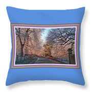 Dundalk Avenue In Winter. L B With Decorative Ornate Printed Frame. Throw Pillow