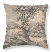 Dune Landscape With Oak Tree Throw Pillow