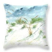 Dunes 3 Seascape Beach Painting Print Throw Pillow