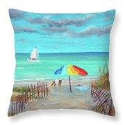 Dunes Beach Colorful Umbrella Throw Pillow