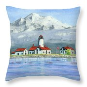 Dungeness Lighthouse With Mount Baker Throw Pillow