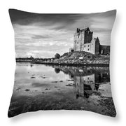Dunguaire Castle In Black And White Throw Pillow